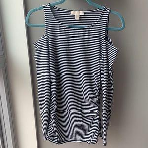 Michael Kors striped cold shoulder top Size MED